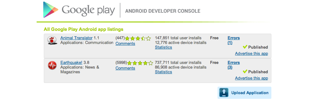 Android Developer Console