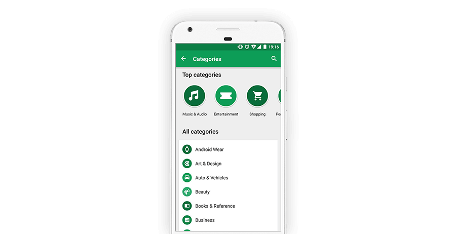 Top categories in Play Store
