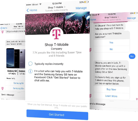 T-Mobile Chatbot - An interactive purchasing experience. Giving users the ability to sign up for T-Mobile and buy a smartphone