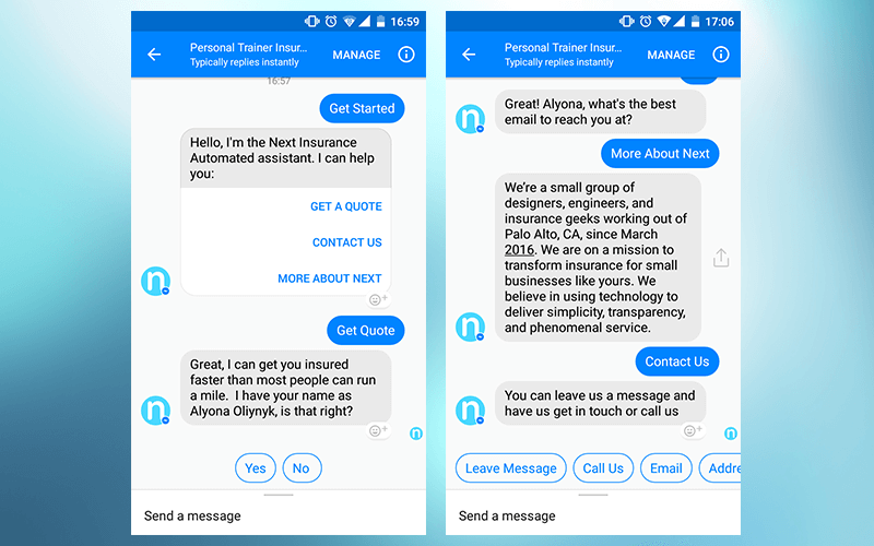 Next Insurance Facebook chatbot