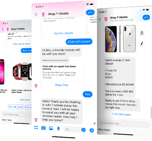 Generated a Facebook audience of 650K+ users with customer support & lead generation T-Mobile bot - Generated a Facebook audience of 650K+ users with customer support & lead generation T-Mobile bot